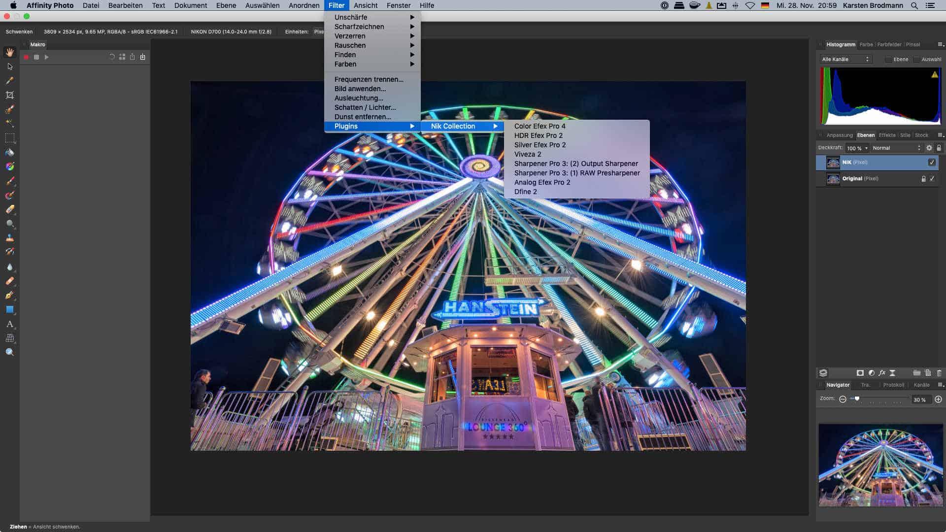 NIK-Filter aus Affinity Photo aufrufen