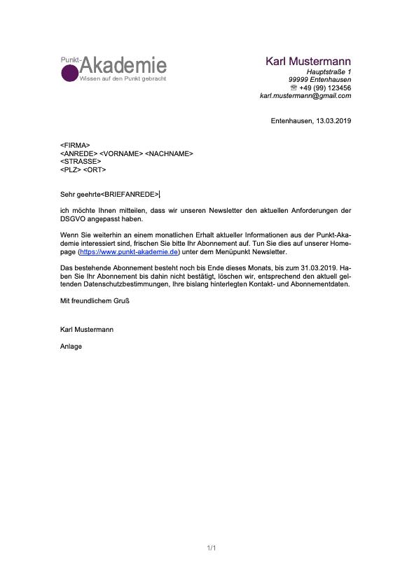 Beispiel für einen Serienbrief mit Anrede