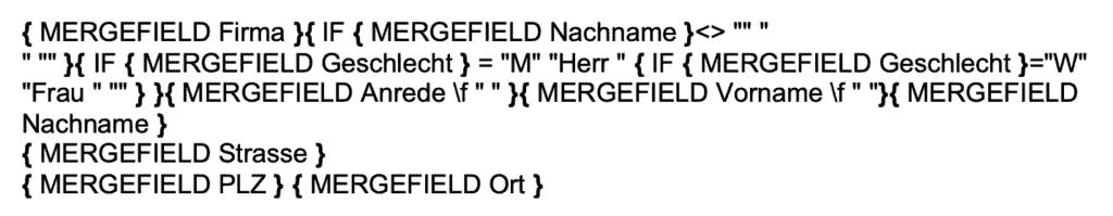 Code für Adressfeld