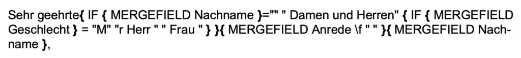 Code für Briefanrede